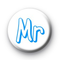 Blue Mr Wedding Badge