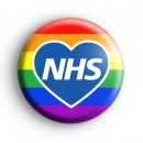 NHS Blue Love Heart Rainbow Badge