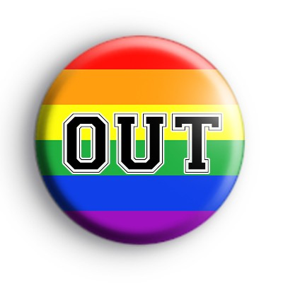 OUT Gay Rainbow Pride Badge