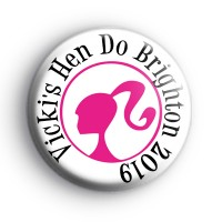 Custom Barbie Pink Hen Party Badges thumbnail