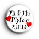 Custom Mr & Mrs Wedding Badge