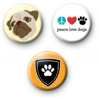 Set of 3 PUG Dog Badges
