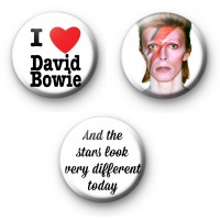 Set of 3 David Bowie Button Badges