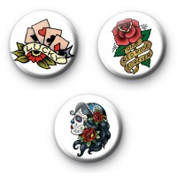 Set of 3 Old School Tattoo Style Badges