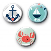 Set of 3 Seaside Nautical Themed Badges