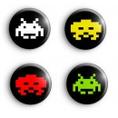 Set of 4 Space Invader Badges