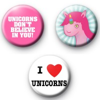 Set of 3 Unicorn Button Badges