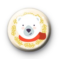 Winter Polar Bear Pin Button Badge