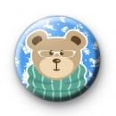 Cute Winter Brown Bear Button Badge