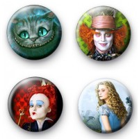 Set of 4 Alice in Wonderland Badges 2