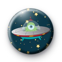 Alien Spaceship Button Badges