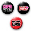 Set of 3 Anti Valentines Button Badges 2
