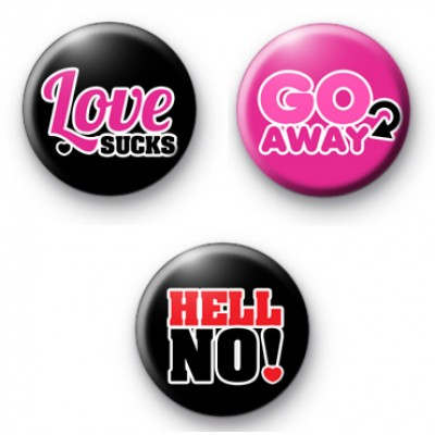 Set of 3 Anti Valentines Button Badges