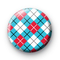 Red White & Blue Argyle Pattern Badge