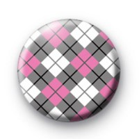 Pink and Grey Argyle Pattern Badge