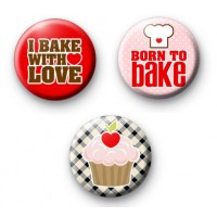 Set of 3 Baking Button Badges