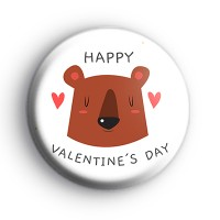 Cute Bear Happy Valentines Day Badge