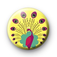 Beautiful Peacock Button Badges