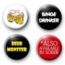 Set of 4 Beer Monster Button Badges