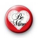 Be Mine White Heart Badge