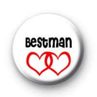 Red Love Hearts Bestman button badges