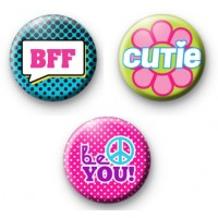 Set of 3 Girly Sayings Button Badges