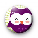 Big Purple Owl Pin Button Badges