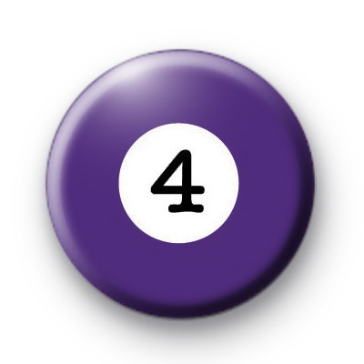 Billiard Ball Birthday Age Number 4 Badge