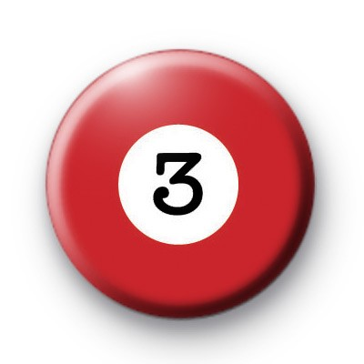 Billiard Ball Birthday Age Number 3 Badge