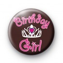 Birthday Girl Crown Button Badges