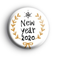 Black and Gold New Year 2020 Button Badge
