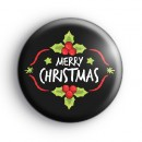 Black Merry Christmas Holly Badge