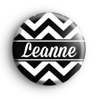 Black and White Chevron Custom Name Badge