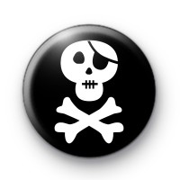 Black and White Pirate Skull Badge