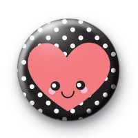 Happy Smiley Heart Black and Pink Badges