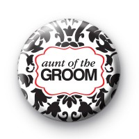 Black and Red Aunt of the Groom Badge