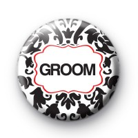 Black and Red Groom Wedding Badges