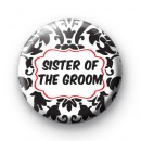 Black and red sister of the groom badge