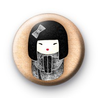 Black and White Geisha Girl Badge