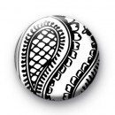 Paisley Black and White Pattern Badge