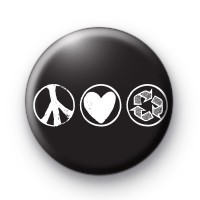 Black and White Peace Love Recycle Badges