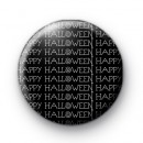 Black Happy Halloween Button Badges