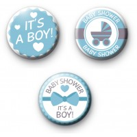 Set of 3 Baby Shower Blue Badges thumbnail