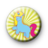 Cute Blue Unicorn Button Badge