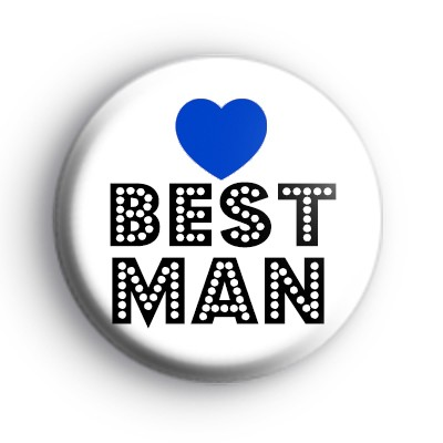 Blue Love Heart Best Man Badge