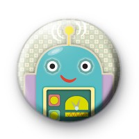 Cute Blue Robot Pin Badge