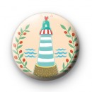 Blue and White Lighthouse Badge