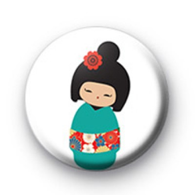 Cute Blue Japanese Doll Badges