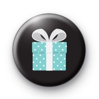 Blue Dotty Birthday Present Button Badges