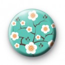 Blue Oriental Flower Blossom Badges